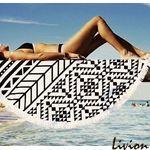 Пляжная подстилка парео с бахрамой Мандала черно-белая