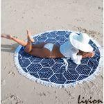 Пляжная подстилка парео с бахрамой Мандала темно-синяя