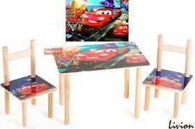 Набор столик и два цветных стульчика Тачки