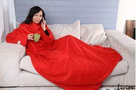 Плед с рукавами из флиса красный
