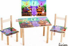 Набор столик и два цветных стульчика Лунтик