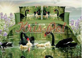 Полиэстер 3D Черные лебеди