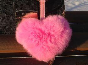 Меховой брелок на сумку Сердце Большое