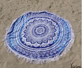 Пляжная подстилка Мандала голубая