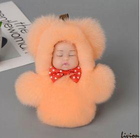 Меховой брелок на сумку Куколка Персиковый Малый