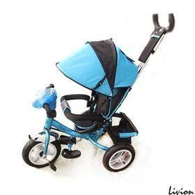 Велосипед детский трёхколесный с родительской ручкой Голубой  (M 3115-5HA)