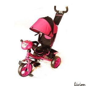 Велосипед детский трёхколесный с родительской ручкой Розовый