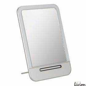 Зеркало для макияжа с LED подсветкой и зарядкой USB Серебро