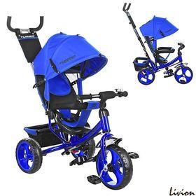 Велосипед детский трехколесный с родительской ручкой Turbo Trike M 3113-14 Синий