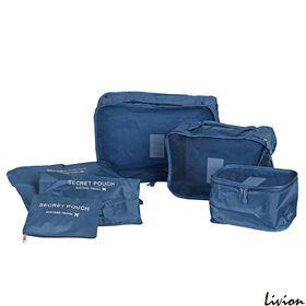 Набор органайзеров для вещей разных размеров Secret Pouch 6 шт Синий