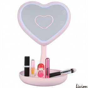 Зеркало для макияжа с LED подсветкой и ночник 2 в 1 с тайником Сердце Розовое
