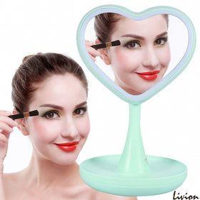 Зеркало для макияжа с LED подсветкой и ночник 2 в 1 с тайником Сердце Салатовое