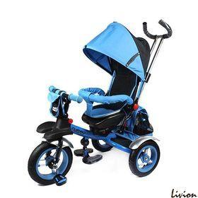 Велосипед детский трёхколёсный с родительской ручкой Turbo Trike голубой M 3124-2A
