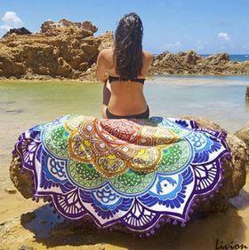 Пляжная подстилка Мандала фиолетовая