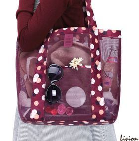 Летняя сумка для пляжа прорезиненная Красная