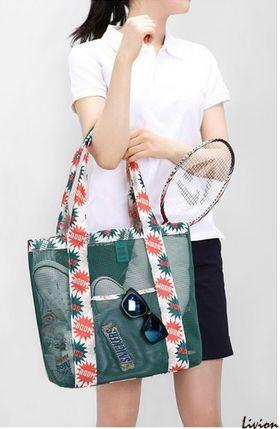 Летняя сумка для пляжа прорезиненная Зеленая